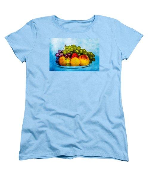 Women's T-Shirt (Standard Cut) featuring the photograph Plate Of Fresh Fruits by Alexander Senin