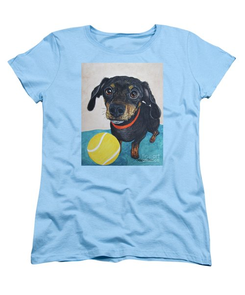 Playful Dachshund Women's T-Shirt (Standard Cut) by Megan Cohen