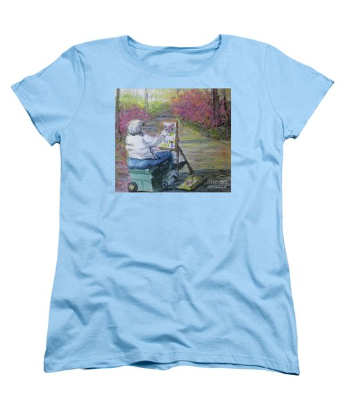 Women's T-Shirt (Standard Cut) featuring the painting Plein-air Painter Lady by Gretchen Allen