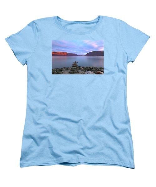 Plum  Point Rock Cairn At Sunset Women's T-Shirt (Standard Cut) by Angelo Marcialis