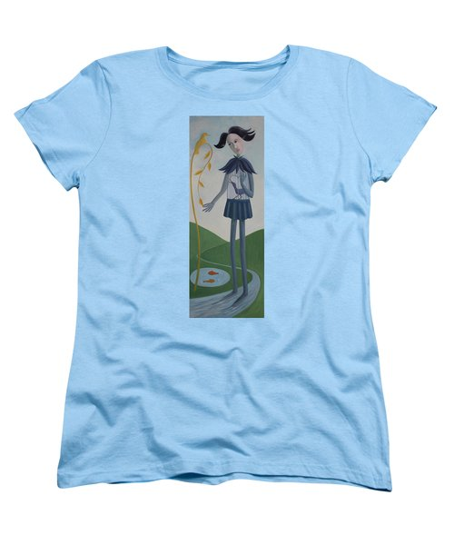Women's T-Shirt (Standard Cut) featuring the painting Plume by Tone Aanderaa