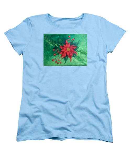 Poinsettia Women's T-Shirt (Standard Cut) by Lucia Grilletto