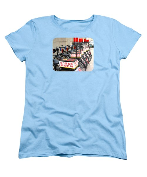 Women's T-Shirt (Standard Cut) featuring the photograph Police Bicycles by Ethna Gillespie