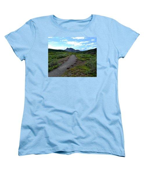 Women's T-Shirt (Standard Cut) featuring the photograph Polychrome Pass Trail, Denali by Zawhaus Photography