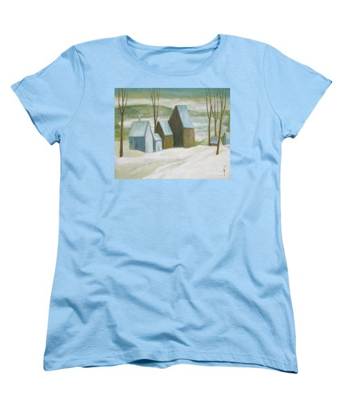 Women's T-Shirt (Standard Cut) featuring the painting Pond Farm In Winter by Glenn Quist