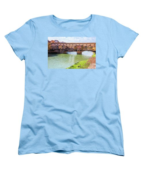 Women's T-Shirt (Standard Cut) featuring the photograph Ponte Vecchio Florence Italy II Painterly by Joan Carroll
