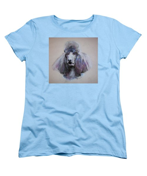 Women's T-Shirt (Standard Cut) featuring the drawing Poodle In Blue by Rachel Hames