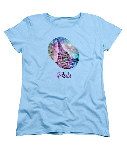 Pop Art Eiffel Tower Graphic Style Women's T-Shirt (Standard Cut)