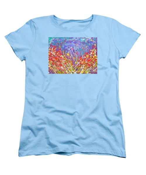 Poppies Abstract Meadow Painting Women's T-Shirt (Standard Cut)
