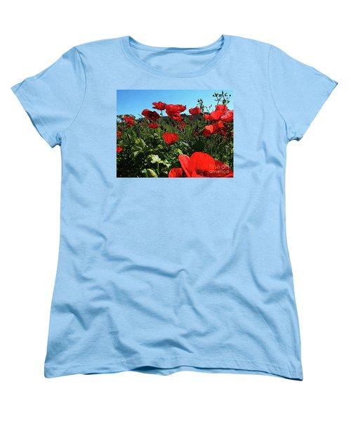 Poppies. Women's T-Shirt (Standard Cut) by Don Pedro De Gracia