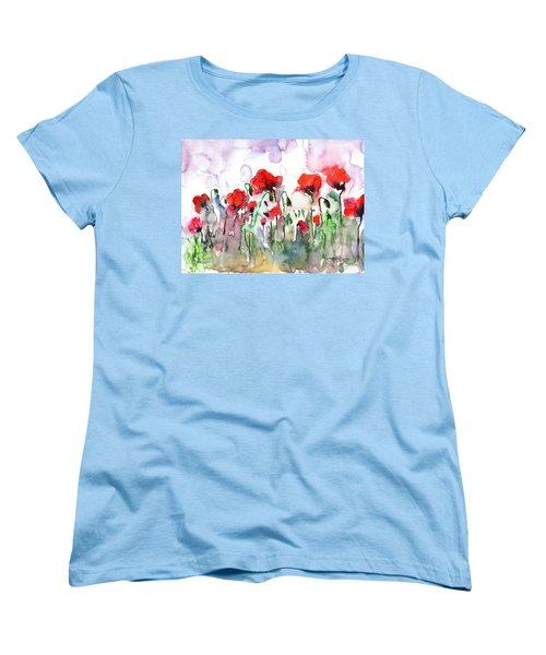 Women's T-Shirt (Standard Cut) featuring the painting Poppies by Faruk Koksal