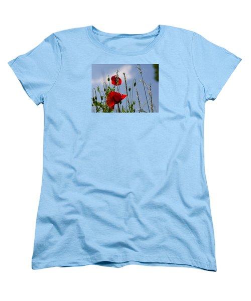 Poppies In The Skies Women's T-Shirt (Standard Cut) by Rainer Kersten