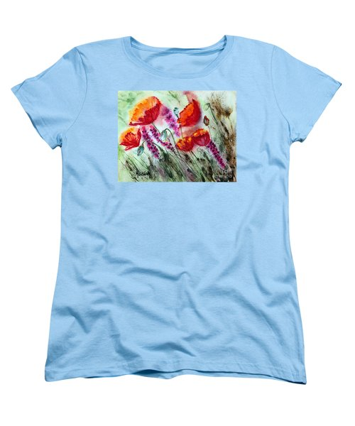Women's T-Shirt (Standard Cut) featuring the painting Poppies In The Wind by Maria Barry