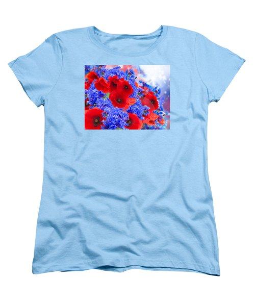Poppy And Cornflower Flowers Women's T-Shirt (Standard Cut) by Anastasy Yarmolovich