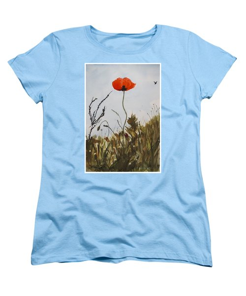 Women's T-Shirt (Standard Cut) featuring the painting Poppy On The Field by Manuela Constantin