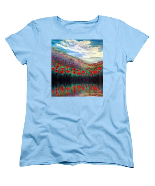 Women's T-Shirt (Standard Cut) featuring the painting Poppy Wonderland by Holly Martinson