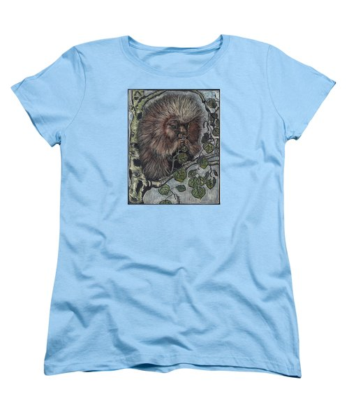 Women's T-Shirt (Standard Cut) featuring the drawing Porcupine In Aspen by Dawn Senior-Trask