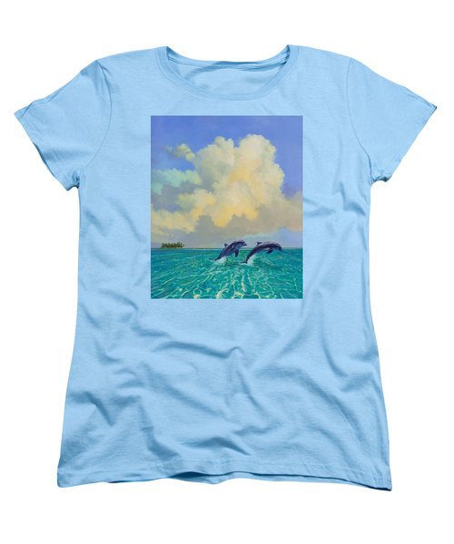 Women's T-Shirt (Standard Cut) featuring the painting Porpoiseful Play by David  Van Hulst