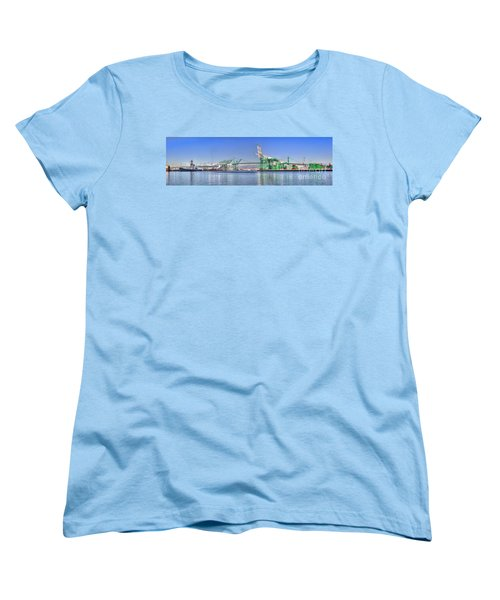 Women's T-Shirt (Standard Cut) featuring the photograph Port Of Los Angeles - Panoramic by Jim Carrell