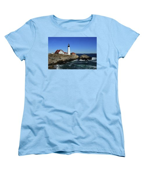 Portland Head Lighthouse Women's T-Shirt (Standard Cut) by Lou Ford