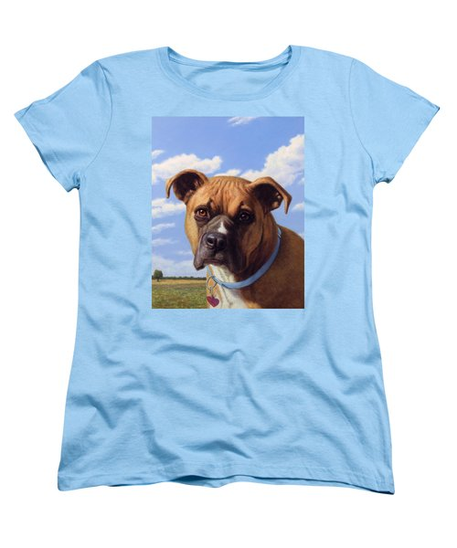 Women's T-Shirt (Standard Cut) featuring the painting Portrait Of A Sweet Boxer by James W Johnson