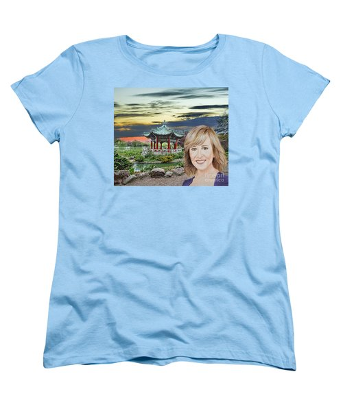 Portrait Of Jamie Colby By The Pagoda In Golden Gate Park Women's T-Shirt (Standard Cut) by Jim Fitzpatrick