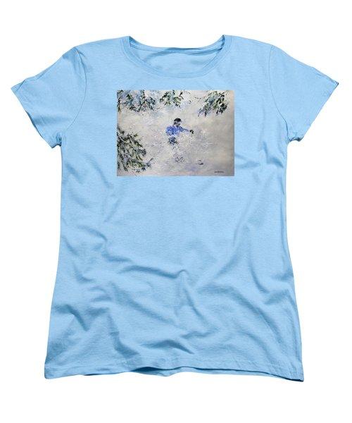 Powder Hound Women's T-Shirt (Standard Cut) by Ken Ahlering