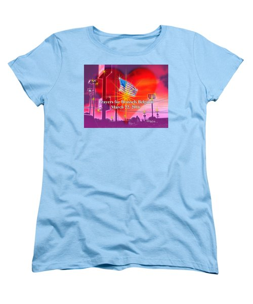 Prayers For Brussels #9726_4 Women's T-Shirt (Standard Cut) by Barbara Tristan