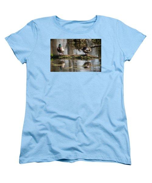 Women's T-Shirt (Standard Cut) featuring the photograph Preening Ducks by David Bearden