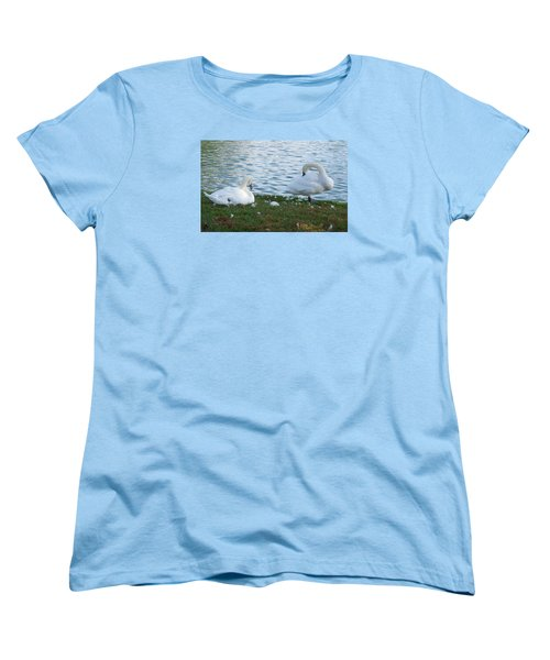 Women's T-Shirt (Standard Cut) featuring the photograph Preening Swans by Cathy Donohoue