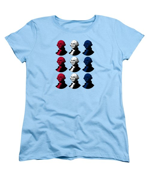 President George Washington - Red, White, And Blue  Women's T-Shirt (Standard Cut) by War Is Hell Store