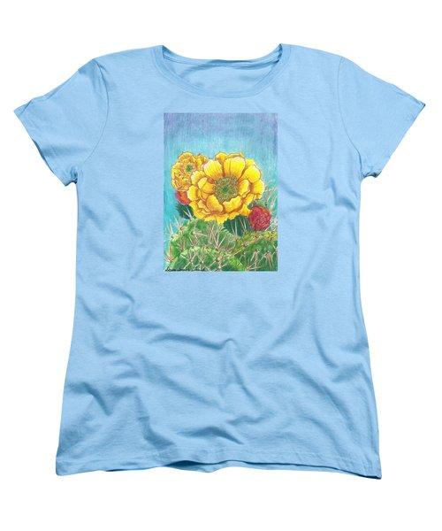 Prickly Pear Cactus Flowering Women's T-Shirt (Standard Cut) by Dawn Senior-Trask