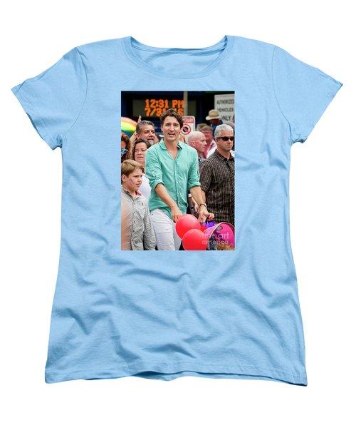 Women's T-Shirt (Standard Cut) featuring the photograph Prime Minister Justin Trudeau by Chris Dutton