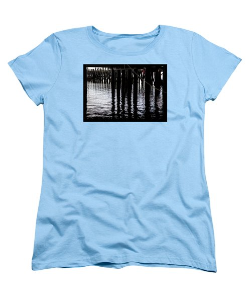 Women's T-Shirt (Standard Cut) featuring the photograph Provincetown Wharf Reflections by Charles Harden