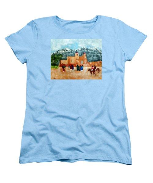 Women's T-Shirt (Standard Cut) featuring the photograph Pueblo Church by Joseph Frank Baraba