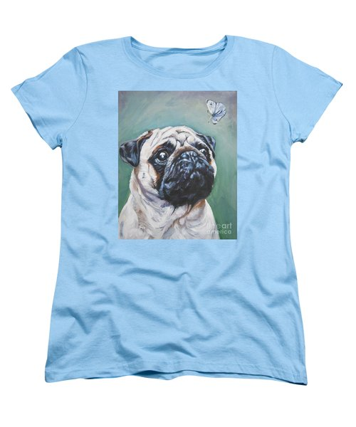 Pug With Butterfly Women's T-Shirt (Standard Cut) by Lee Ann Shepard