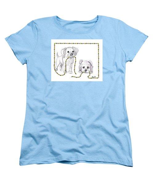 Puppies Greeting Card Women's T-Shirt (Standard Cut)