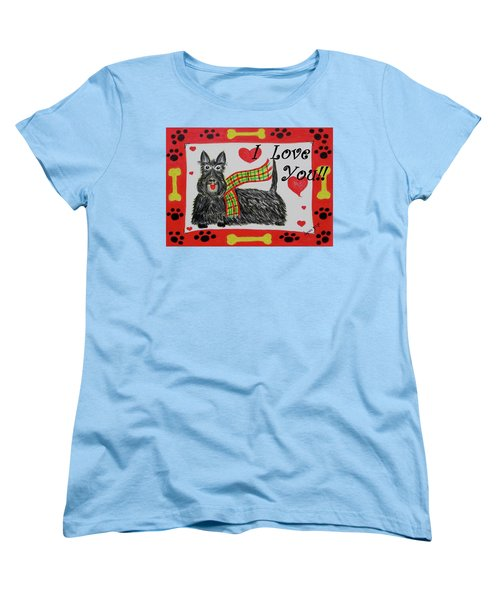 Women's T-Shirt (Standard Cut) featuring the painting Puppy Love by Diane Pape