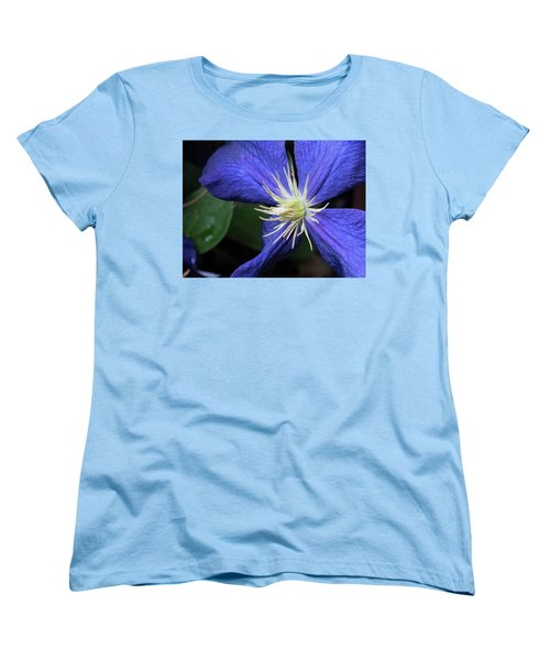 Women's T-Shirt (Standard Cut) featuring the photograph Purple Clematis by Rebecca Overton