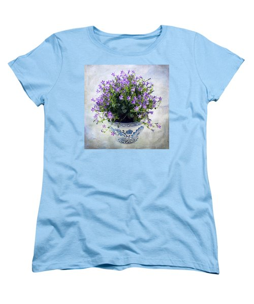 Women's T-Shirt (Standard Cut) featuring the photograph Purple Flowers In Pot by Catherine Lau