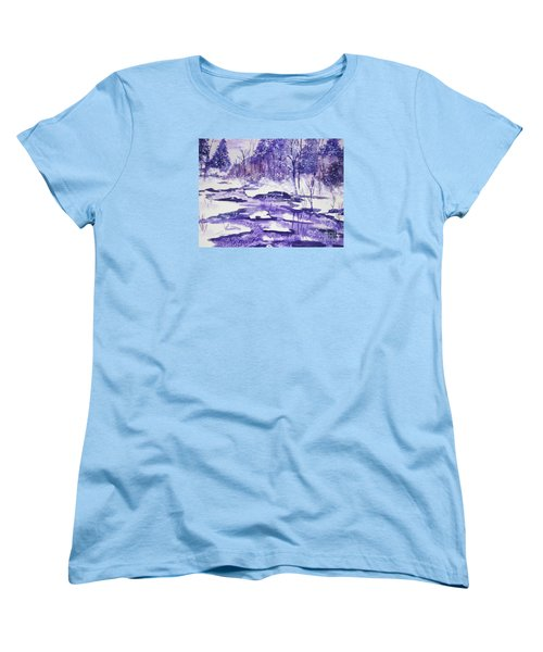 Women's T-Shirt (Standard Cut) featuring the painting Purple Ice On Kaaterskill Creek by Ellen Levinson