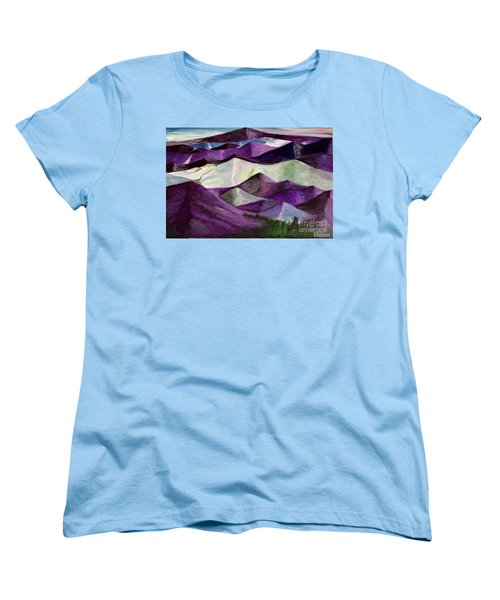 Women's T-Shirt (Standard Cut) featuring the painting Purple Mountains Majesty by Kim Nelson