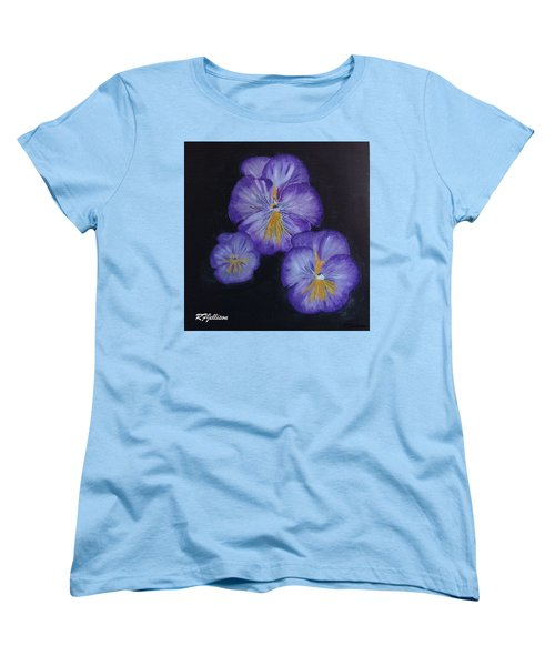 Women's T-Shirt (Standard Cut) featuring the painting Purple Pansies by Rod Jellison