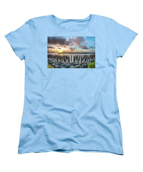 Women's T-Shirt (Standard Cut) featuring the photograph Pylons Mill Sunset by Greg Nyquist