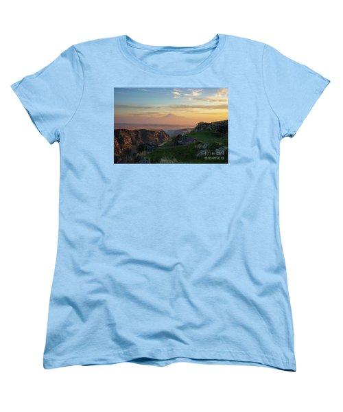 Qasakh Gorge And Ararat Mountain At Golden Hour Women's T-Shirt (Standard Cut) by Gurgen Bakhshetsyan