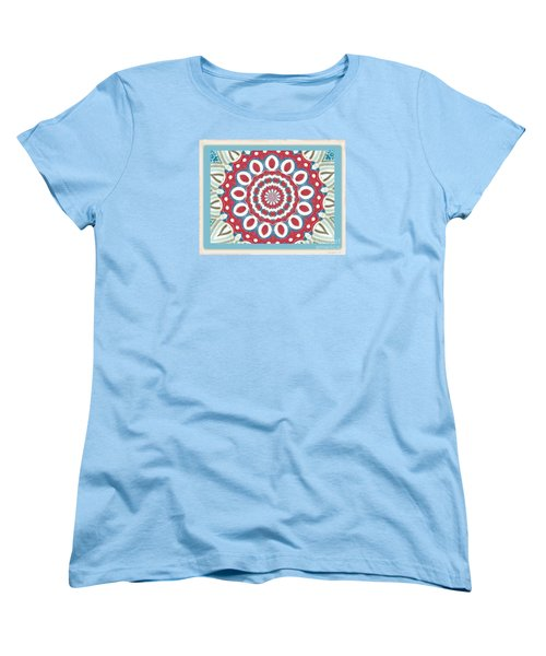 Quilted Red White Circles Women's T-Shirt (Standard Cut) by Shirley Moravec