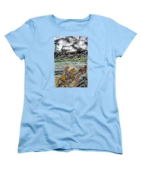 Women's T-Shirt (Standard Cut) featuring the drawing Racing The Lightning Home by Dawn Senior-Trask