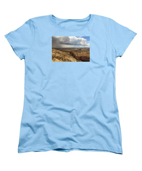 Women's T-Shirt (Standard Cut) featuring the photograph Rain And Sun Over Calf Creek. by Johnny Adolphson