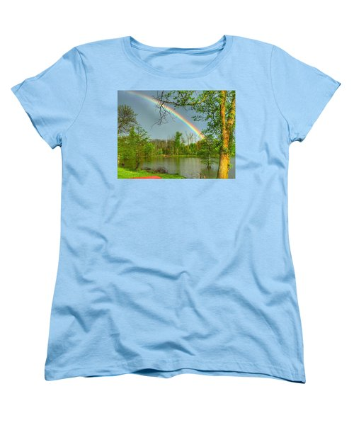 Women's T-Shirt (Standard Cut) featuring the photograph Rainbow At The Lake by Sumoflam Photography