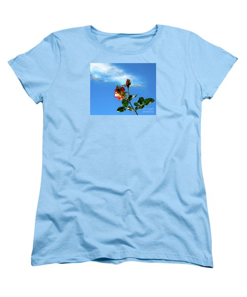Rainbow Cloud And Sunlit Roses Women's T-Shirt (Standard Cut) by CML Brown